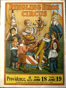 "This is a 20 page courier for the 1917 edition of Ringling Bros. Circus. In 1918 the illustration on the cover of this courier was also used as a poster known as ""The Children's Favorite Clown"" poster."