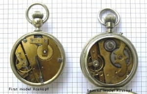Here you can see the difference in the worked between the first and second generation of the Roskopf watch.