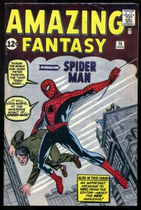 A high-grade copy of Amazing Fantasy #15, one of the rarest comic books, introducing Spider-Man.