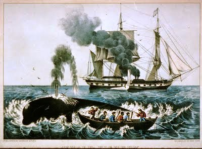 "Currier & Ives lithograph ""Attacking a Right Whale."""