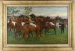 "This signed oil-on-linen painting by the French artist Adolphe Binet titled ""Les Alezans"" realized $23,000."