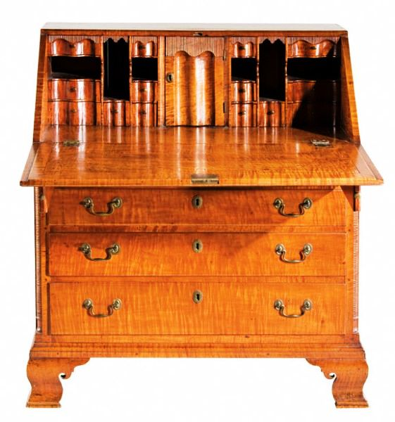 This late-18th-century Pennsylvania Chippendale tiger maple desk garnered $41,400, making it the top lot at the multi-estate Historic Hillsborough Auction held Sept. 19.