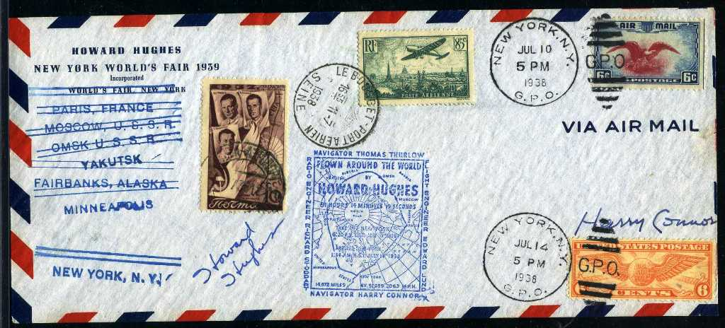 Lots pertaining to reclusive billionaire Howard Hughes will be sold, including this signed flight cover, will be among the hundreds of items in an impressive array of categories up for auction on Oct. 3-4.