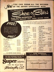 The record order form offered records by the artists for 89 cents each.