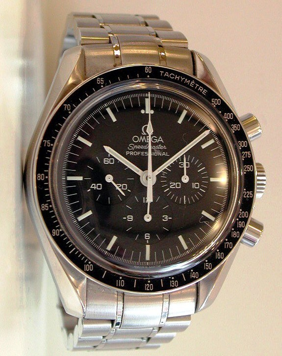 A Professional model Omega Speedmaster, with spearpoint second hand. The Speedmaster is one of the most challenging modern watches to collect because the number of changes made to the line over the last 50 years.