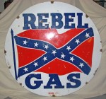 Tin sign for Rebel Gas