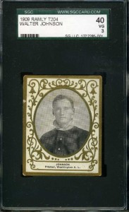 An example of an extremely rare Ramly Tobacco baseball card of pitching legend Walter Johnson (SGC graded 3).