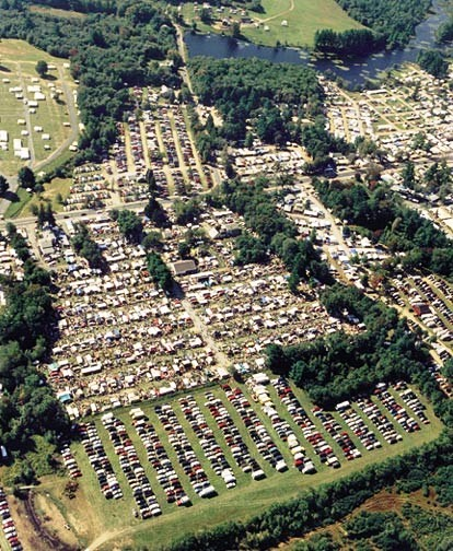 The Brimfield Antiques and Collectibles Show, and surrounding independent events, as seen from the air.