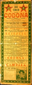 This is an extremely rare broadside for Gran Circo Codona a circus featuring aerialists Alfredo Codona and Lillian Leitzel. The show performed in Mexico in the 1920s during the off season. Codona and Leitzel were married in 1928, but in 1931 Leitzel fell while performing in Copenhagen, Denmark. She died two days later. In less than two years Codona married Vera Bruce, an aerialist. In 1937, while in a law office discussing divorce, Codona shot Bruce to death and then killed himself. Ironically, Vera Bruce was also featured in this Cran Circo Codona. The broadside is valued at over $100.