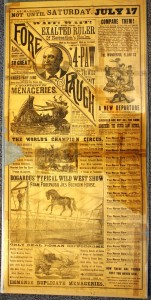 "Two sides of this 1886 Adam Forepaugh Herald urge patrons to wait until July 17 to see the ""Exalted Ruler of Recreation's Realm,"" and not be taken in by the inferior ""Little Doris Circus,"" a Forepaugh competitor."