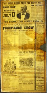 "One section of the Forepaugh Herald lists the inventory of the small Doris Circus, which includes ""2 small elephants, 2 weather-beaten camels and NO hippopotamus, NO rhinoceros, NO herd of elephants."" Value is $50-$75."