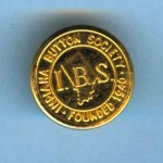 A button from the Indiana Button Society. It is a bright stamped brass top and back with a round wire shank and is stamped on the back, Waterbury Button Co.