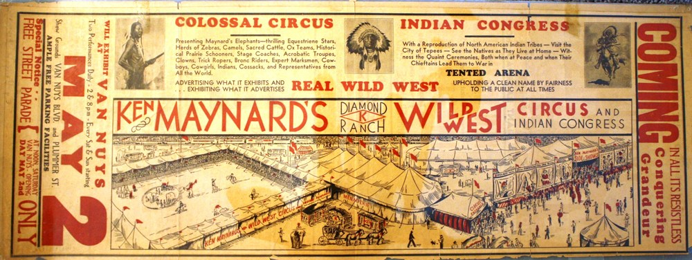 Ken Maynard's Wild West Circus and Indian Congress toured in 1936 and featured the motion picture, western star in person. Value is $50-$75.