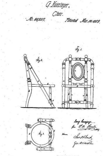 The design and patent number of a Hunzinger chair.