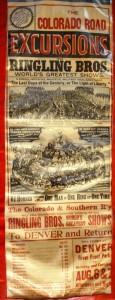 In 1900 Ringling Bros. World's Greatest Shows played in Denver, Colorado. This herald has rates for excursion trains on the Colorado Road to many outlying towns, from Windsor to Broomfield. Value $25-$50.