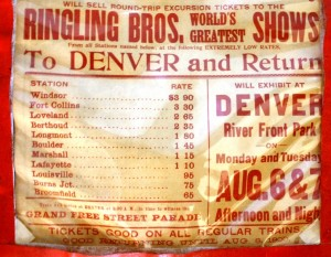 A close-up of a 1900 Ringling Bros. World's Greatest Shows herald from Denver, Co., showing the railroad ticket rates from outlying towns.