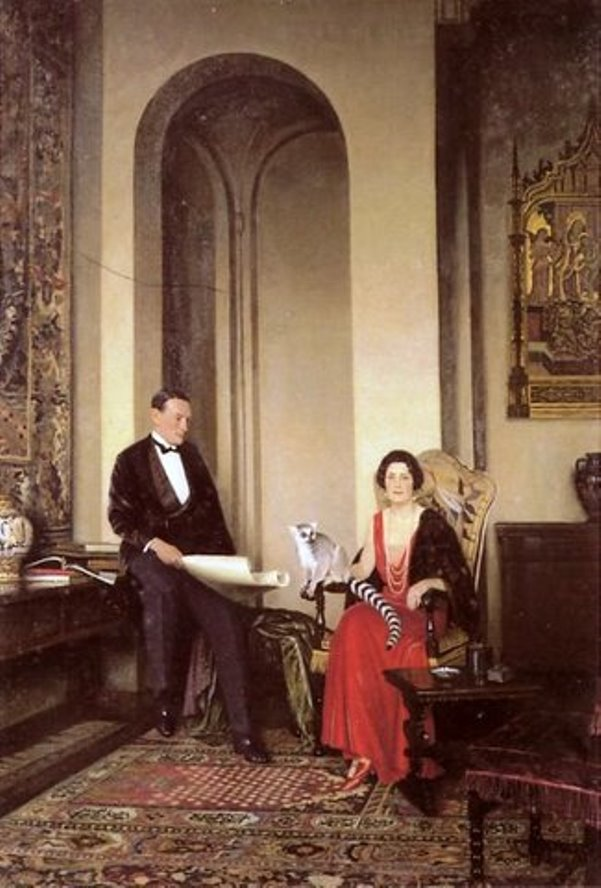 A portrait of millionaire Stephen Courtauld and his wife Virginia, along with Mah-Jongg, their ring-tailed lemur.