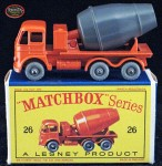 A rare 1961 Matchbox Foden Cement Truck, #26B, gray barrel variation, in the box.