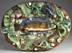 A French Palissy platter by Francois Maurice