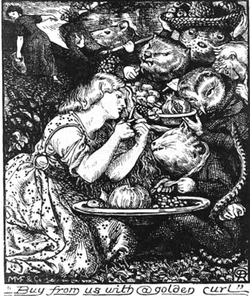 "Illustration by Christina Rossetti's brother, Dante Gabriel Rossetti, for the first edition of ""Goblin Market and Other Poem,"" 1862."
