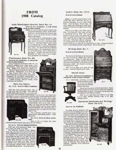 This scan of page 15 from the Larkin Oak catalog of 1908 shows some of the other desks offered by Larkin, including the Chautauqua, three other drop fronts, two roll tops and a side-by-side. The current catalog is published by Walter Ayars of Echo Publishing in Summerdale, PA.