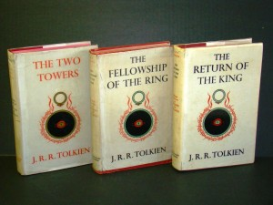 Three-volume set of the Lord of the Rings trilogy, one book signed by author J.R.R. Tolkein, sold for $14,600.