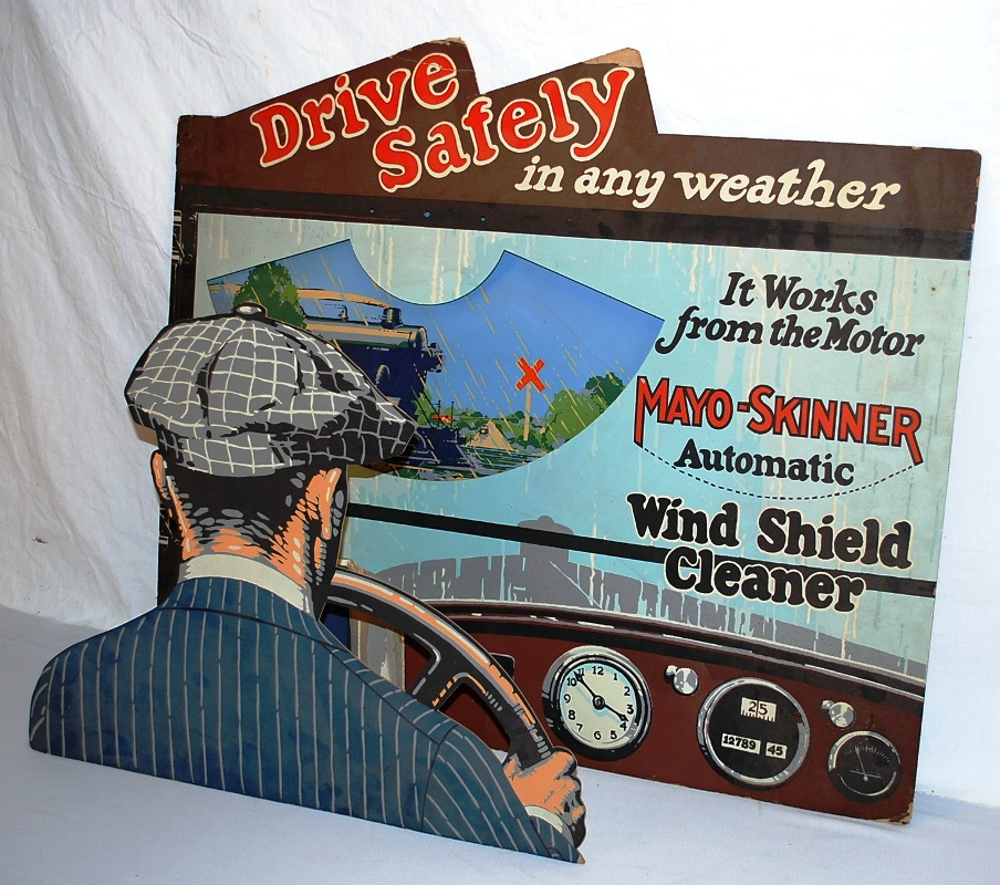 This cardboard diorama for Mayo-Skinner Automatic Windshield Cleaner, graded 8.5 out of 10, sold for a surprising $5,060 at the Fall Peotone Petroliana & Advertising Auction on Oct. 16, 2009.