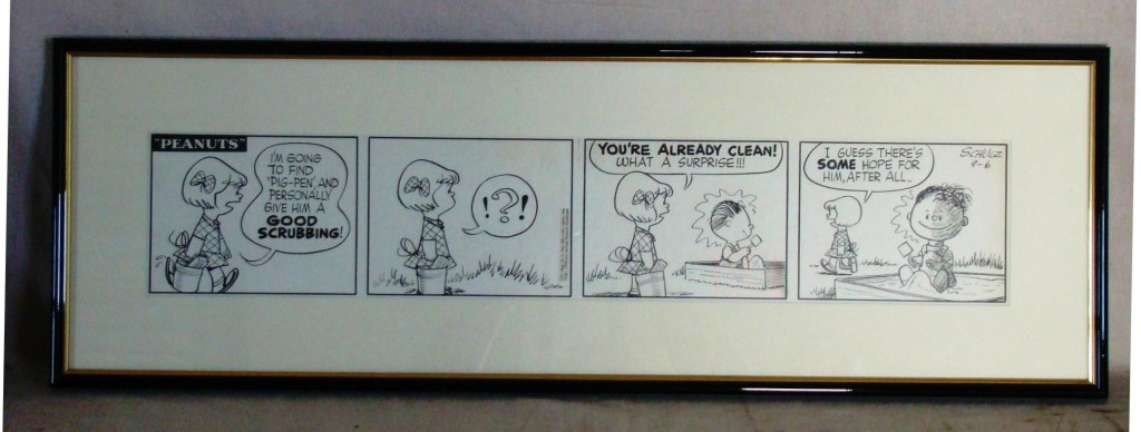 """The top lot at the most recent Philip Weiss auction was this original """"Peanuts"""" comic strip from 1954 by Charles Schulz, which gaveled for $28,250."""