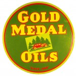 Very rare Gold Medal Oil two-sided porcelain sign (one of only three know in existence), made by Veribrite Signs of Chicago, hammered for $44,000