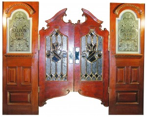 Solid mahogany swinging saloon doors, also by Brunswick, Balke & Collender Co., brought $77,000, another record.