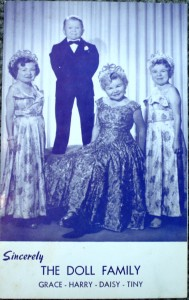 "The four members of the Doll Family—three sisters and a brother—who came to the U.S. from Germany. They appeared in the classic film, ""Freaks."" For years there were featured on the Ringling Bros. and Barnum & Bailey sideshow. This pitch card is valued at $10 to $20."