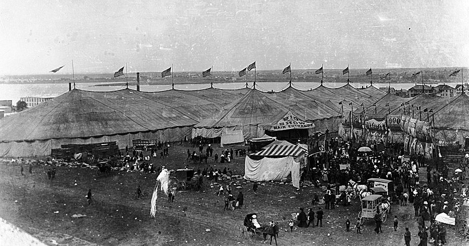 The Glasier photo of the Adam Forepaugh and Sells Bros. tents and midway sold in a recent internet auction for $203.