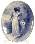 Gorgeous 14 inch by 10 ¾ inch oval Babes in Woods plaque with a summer scene of a lady and girl.