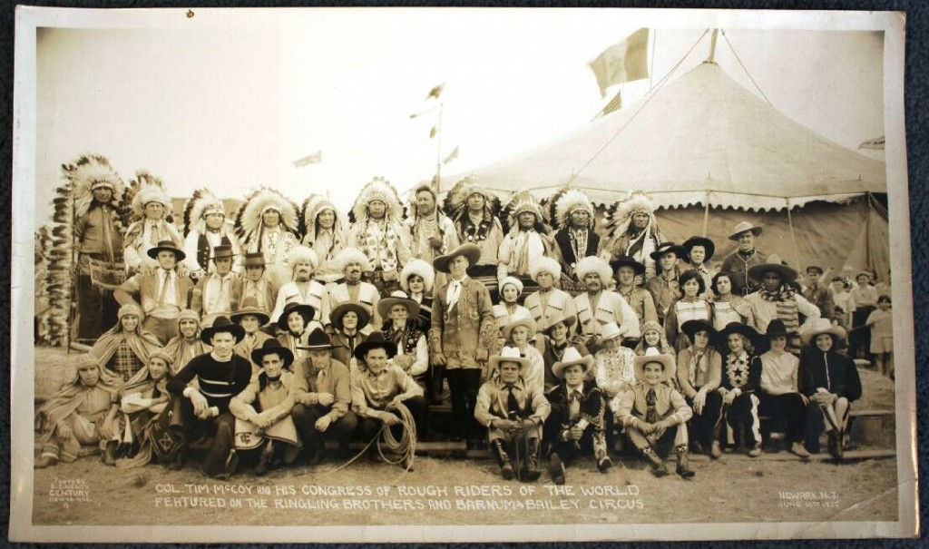This large size Kelty photo of Ringling Bros. and Barnum & Bailey shows Col. Tim McCoy and His Congress of Rough Riders of the World. McCoy was featured in the after-show during the 1935 season. This photo is valued at $300-400.
