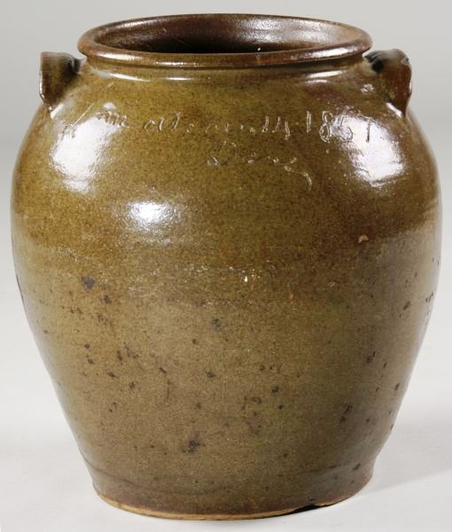 "This rare Edgefield District ""Dave the Slave"" 5-gallon jar in ovoid form, dated 1857, is expected to bring in an estimated $20,000-$30,000 at a Fine & Decorative Arts Cataloged Auction scheduled for Saturday, Dec. 5, hosted by Leland Little Auction & Estate Sales, Ltd."