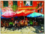"""A original oil on canvas painting by Elena Bond, titled """"La Trattoria,"""" artist signed, should gavel between an estimated $3,900 and $4,400."""