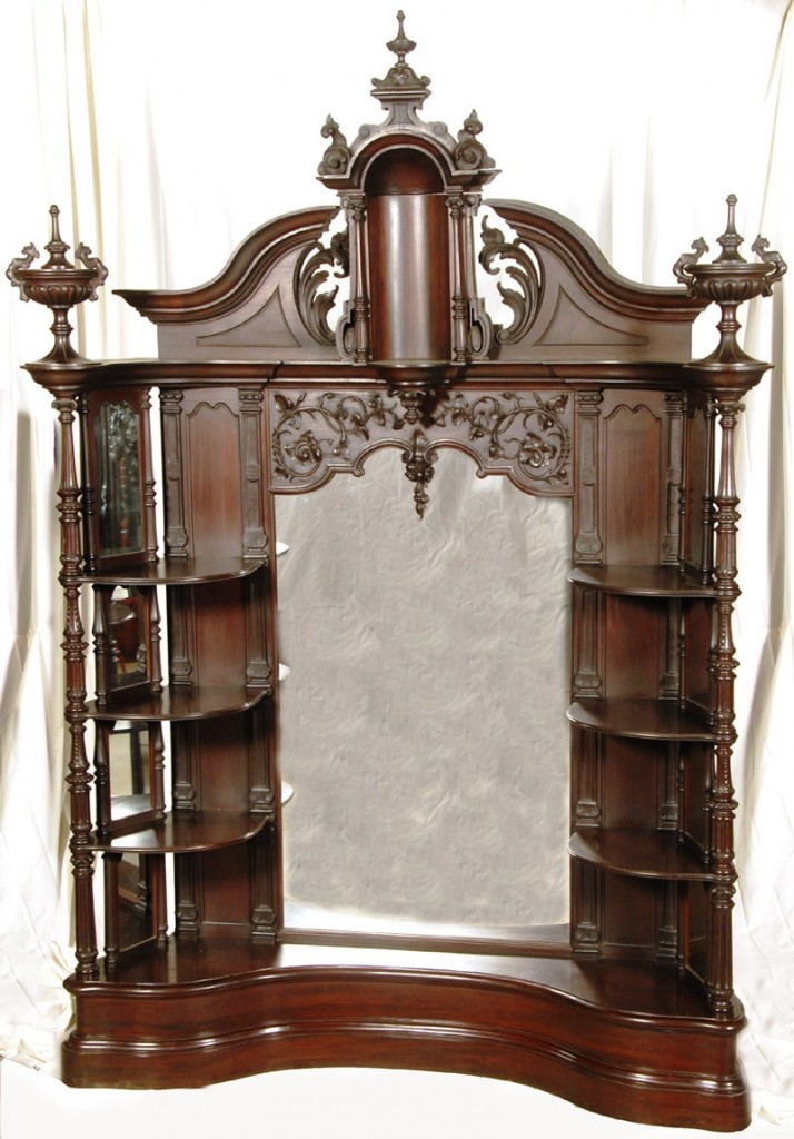 This magnificent étagère attributed to Mitchells & Rammelsberg, with four shelves and carved finial, are among the items from the antique shop and personal collection of Brad and Eunice Witt that will be up for action on Nov. 7, 2009.
