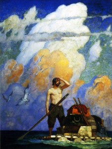"Robinson Crusoe adrift at sea on his raft, ""For a mile, or thereabouts, my raft went very well-"", is estimate to being between $300,000 and 500,000 at auction."