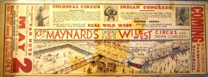 The reverse of the Ken Maynard's Diamond K Ranch Wild West Circus and Indian Congress. This herald is valued at $50-$75.