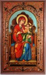 """Original paint on board work by up-and-coming artist Teofilo Magliocchi, titled """"Madonna and Child."""""""