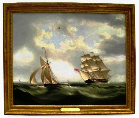 """Glasgow & Cutter Scout,"""" one of two original marine oil paintings by Thomas Buttersworth (Br., 1768-1842), sold for a combined $33,925 at auction on Oct. 21, 2009."""