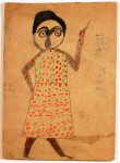 """Paint and graphite on cardboard work by Bill Traylor, titled """"Mexican Woman,"""" 100% original."""