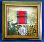 Waterloo medal, issued in 1815 to Sgt. T. Wright of the 13th Regiment, Light Dragoons ($2,600).