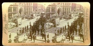 A stereo card image of a circus parade in Chicago in 1892 sold for $30 in 2006.