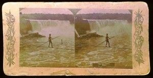 This unidentified wirewalker is seen walking across Niagara Falls. The card sold for only $20 in 2006.