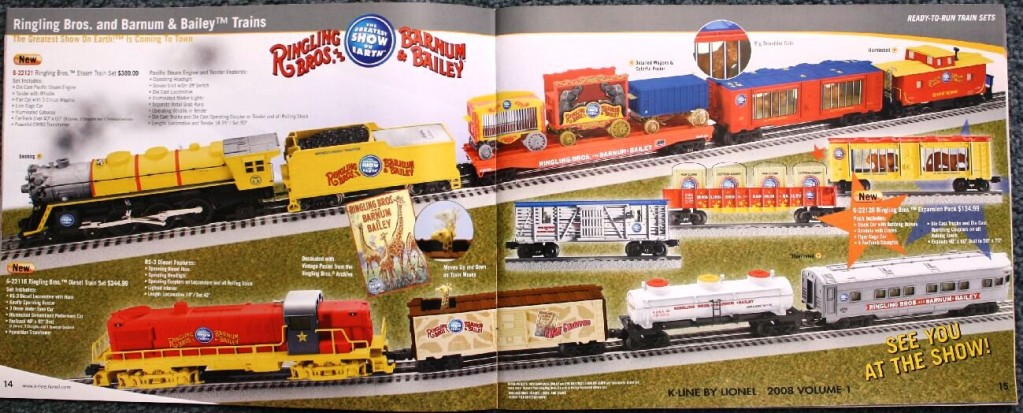 The 2008 K-Line by Lionel catalog had a seven-page section with train cars and other items featuring The Greatest Show On Earth. Four of the pages are shown here.