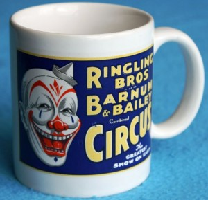 Each of the coffee mugs sold in 1983 came in a box which also had the Ringling logo