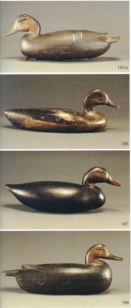 These four decoys are typical of the Delaware River region. The upper one is by John English, the two middle ones are unknown makers of the Blair school, and the lower is by Tom Fitzpatrick. Photo courtesy of Guyette and Schmidt.