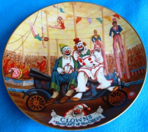 When Hamilton Collectibles began producing licensed Ringling items this plate was No. 1 in the first series.  Plates in the various series sometimes sell for as little as 99 cents each in online auctions even though their original retail price was around $30. Hamilton figurines usually bring $10 to $15.