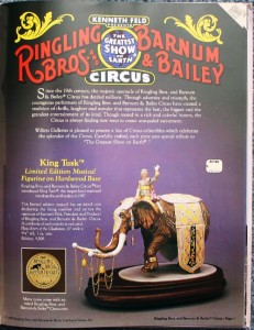 The 1989 hardbound Willitts catalog has 12 pages showcasing their entire line of Ringling Bros. and Barnum & Bailey licensed items. The catalog is more desirable than many of the items and has a value of $40-$50.